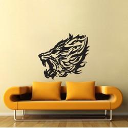 สติกเกอร์ติดผนัง หัวสิงโต Lion Fire Wall Sticker (WD-0838)