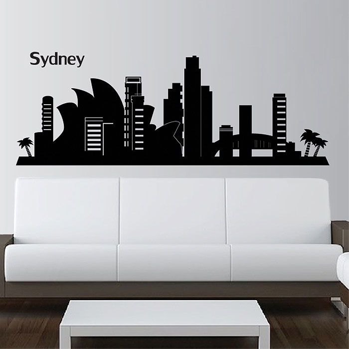 Sydney city skyline silhouette vinyl wall art decal