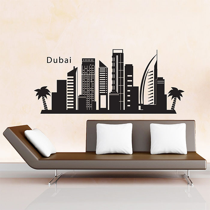 Skyline City Silhouette Vinyl Wall Art Decal - Wall decals dubai