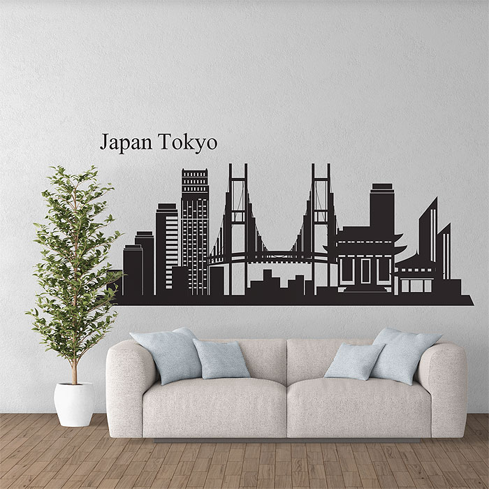 Japan tokyo skyline city silhouette vinyl wall art decal