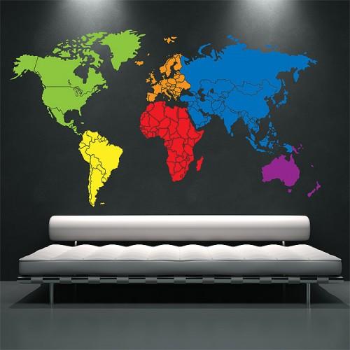สติกเกอร์ติดผนัง ภาพแผนที่โลก World Map Color Wall Sticker