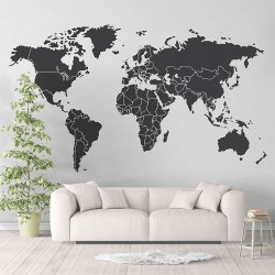World Map Vinyl Wall Art Decal (WD-0851)