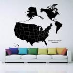 สติกเกอร์ติดผนัง United States of America Map Wall Sticker