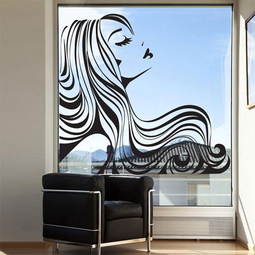 สติกเกอร์ติดผนัง Girl beauty hair salon Wall Sticker