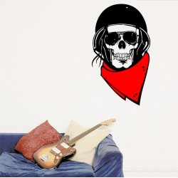 Skull and Red Scarf Vinyl Wall Art Decal (WD-0866)