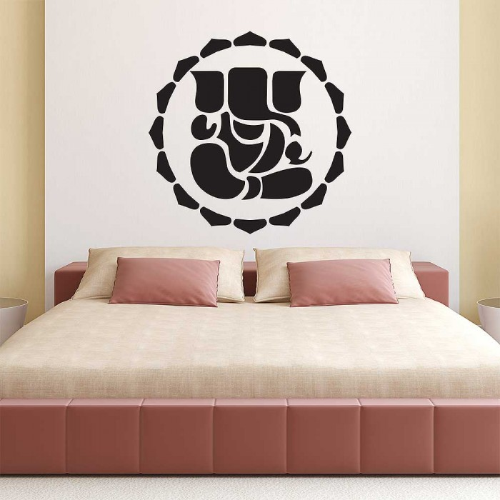 God ganesha silhouete with red circle vinyl wall art decal