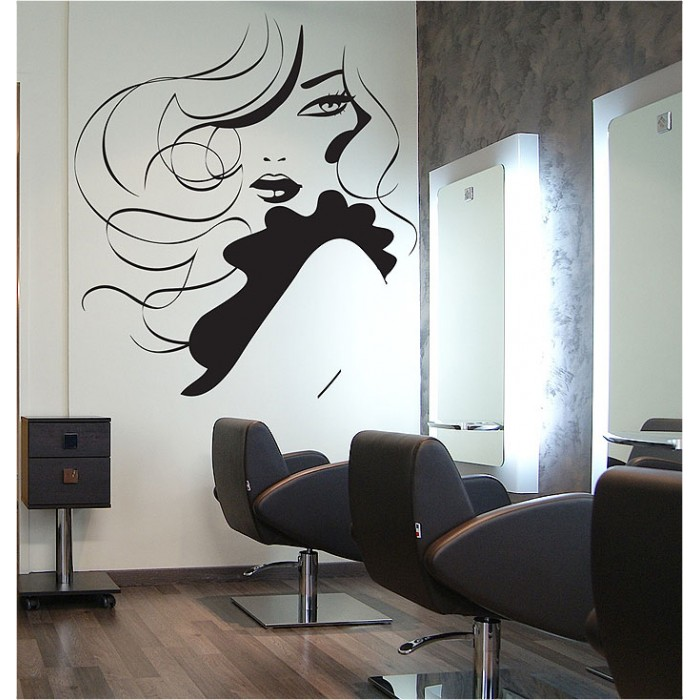Tattoo Wall Art girl hair beauty salon vinyl wall art decal
