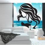สติกเกอร์ติดผนัง Beauty Face Girl Hair Salon Wall Sticker