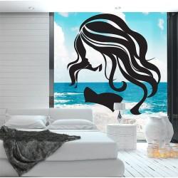 สติกเกอร์ติดผนัง Beauty Face Girl Hair Salon Wall Sticker (WD-0885)