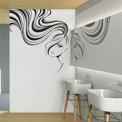 สติกเกอร์ติดผนัง Ponytail Beauty Hair Face Girl Wall Sticker (WD-0886)