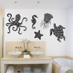 สติกเกอร์ติดผนัง Sea Animals Octopus Tutle starfish Jellyfish Sea horse Wall Sticker (WD-0891)