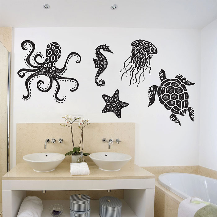 Sea Animals Octopus Turtle starfish Jellyfish Sea horse Vinyl Wall Art Decal & Sea Animals Octopus Turtle starfish Jellyfish Sea horse Vinyl Wall ...