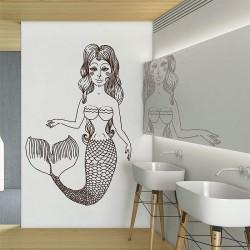 สติกเกอร์ติดผนังนางเงือก Mermaid Wall Sticker (WD-0896)