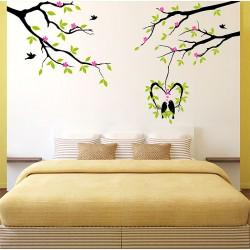 สติกเกอร์ติดผนัง Tree and birds with flower Wall Sticker (WD-0903)