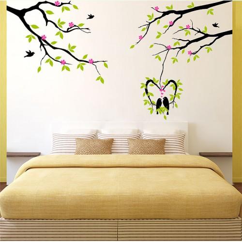 สติกเกอร์ติดผนัง Tree and birds with flower Wall Sticker