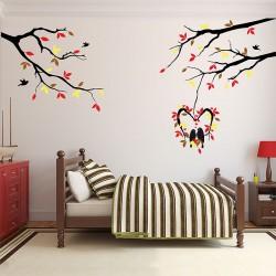 สติกเกอร์ติดผนัง Tree and birds Wall Sticker (WD-0904)