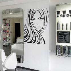 สติกเกอร์ติดผนังร้านเสริมสวย Girl Face Beauty Hair Salon Wall Sticker (WD-0905)