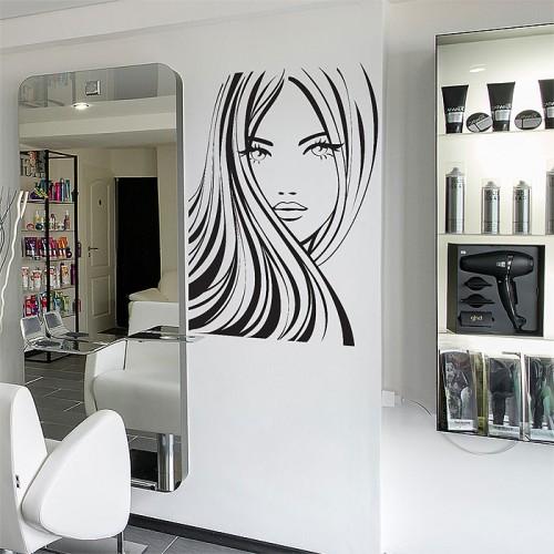 สติกเกอร์ติดผนังร้านเสริมสวย Girl Face Beauty Hair Salon Wall Sticker