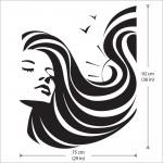 สติกเกอร์ติดผนัง Girl Face Beauty Hair Salon