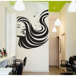 สติกเกอร์ติดผนังร้านเสริมสวย Girl Face Beauty Hair Salon Wall Sticker (WD-0906)