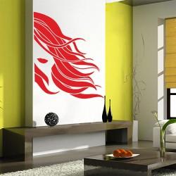 สติกเกอร์ติดผนัง Girl face beauty hair salon Wall Sticker (WD-0909)