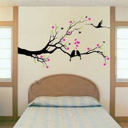 สติกเกอร์ติดผนัง Tree and Birds lover Wall Sticker (WD-0911)