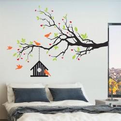 สติกเกอร์ติดผนัง Tree Birdcase and Birds Wall Sticker (WD-0916)