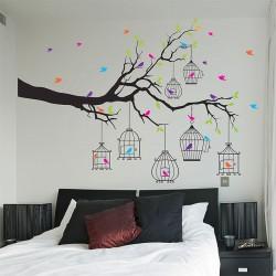 สติกเกอร์ติดผนัง Tree birds and Birdcages Wall Sticker (WD-0917)