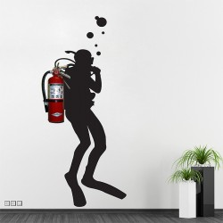 Fire Extinguisher Scuba Diver Vinyl Wall Art Decal (WD-0944)
