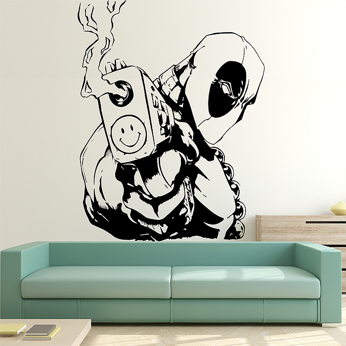 Wall Art Decals For Living Room: Deadpool Vinyl Wall Art Decal