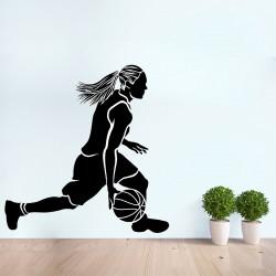 สติกเกอร์ติดผนัง Girl Basketball Player Wall Sticker (WD-0948)