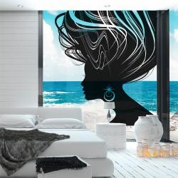 สติกเกอร์ติดผนังทรงผมผู้หญิง Woman Beautiful Hair Wall Sticker (WD-0949)