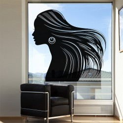 สติกเกอร์ติดผนัง Woman beautiful hair v2 Wall Sticker (WD-0950)