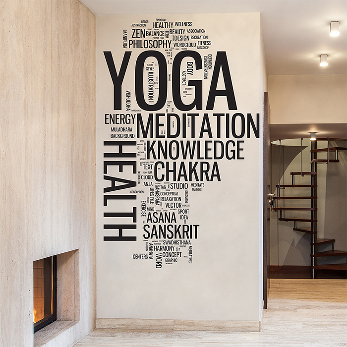 Yoga Wall Art word cloud vinyl wall art decal