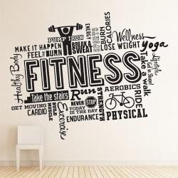 สติกเกอร์ติดผนัง Fitness Word Cloud Wall Sticker (WD-0953)
