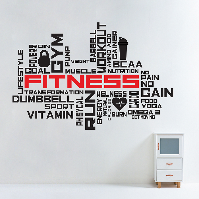 Fitness Gym Word Cloud Wall Sticker