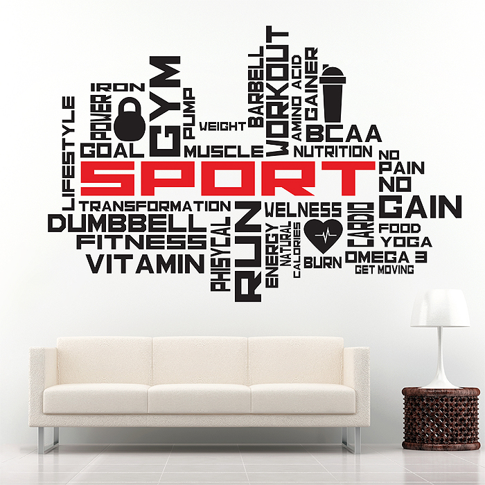 Fitness Sport Word Cloud Vinyl Wall Art Decal