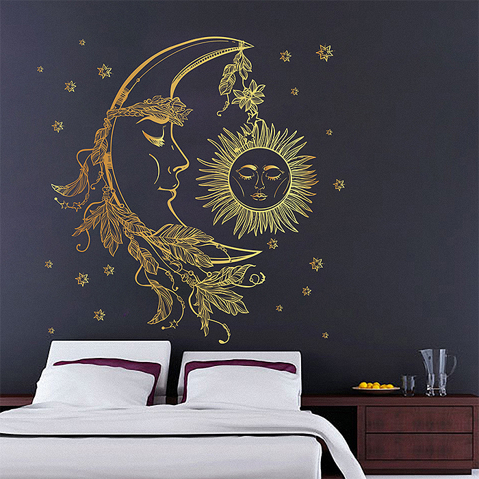 crescent moon with feathers vinyl wall art decal