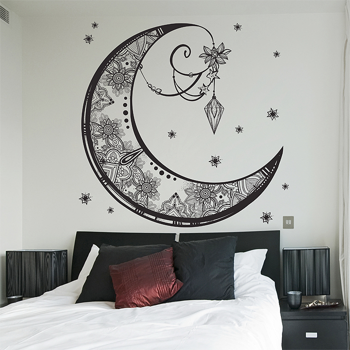 crescent moon vinyl wall art decal