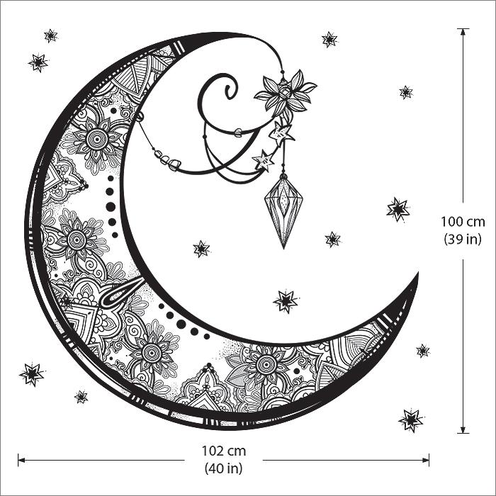 Crescent Moon Vinyl Wall Art Decal