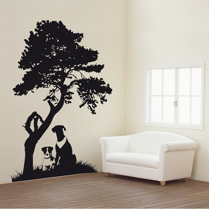 Dogs sitting under the tree Vinyl Wall Art Decal