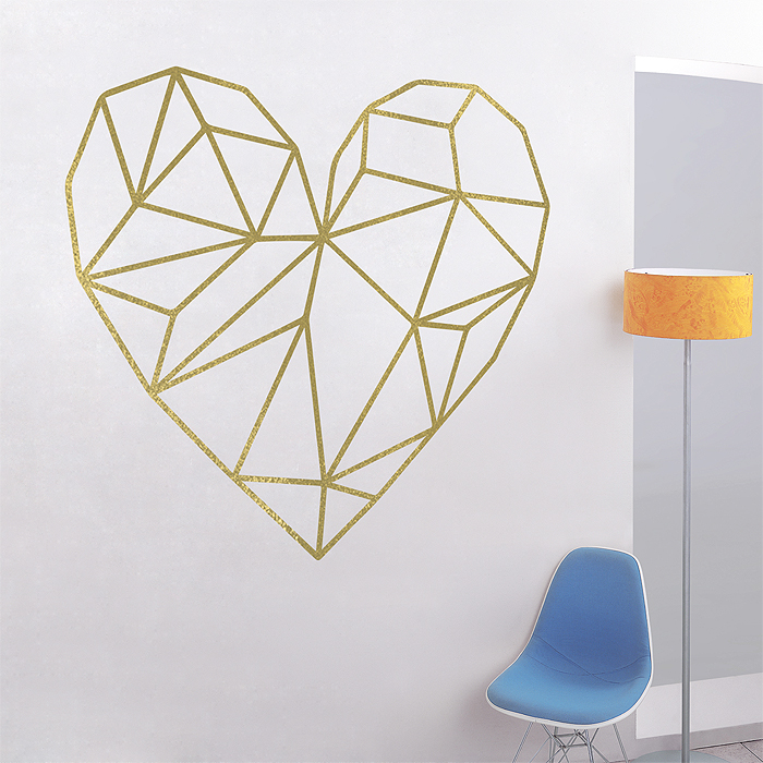 geometric heart vinyl wall art decal