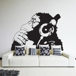 สติกเกอร์ติดผนัง ลิงใส่หูฟัง Banksy Monkey with Headphones Wall Sticker (WD-0965)