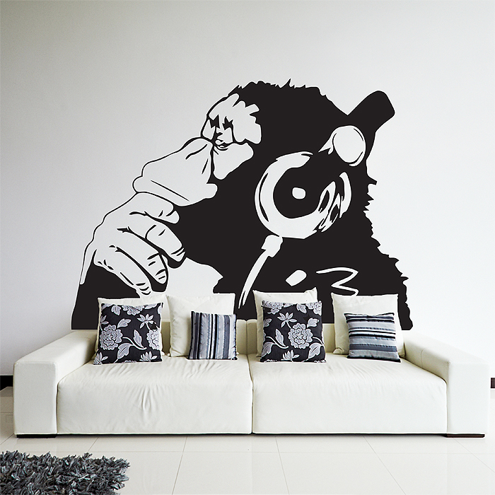 wandtattoo affe kopfh rer reuniecollegenoetsele. Black Bedroom Furniture Sets. Home Design Ideas