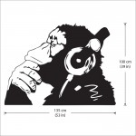 Banksy Monkey with Headphones Vinyl Wall Art Decal