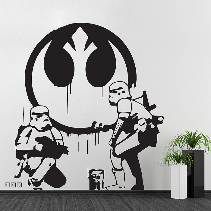 wandtattoo banksy star wars reuniecollegenoetsele. Black Bedroom Furniture Sets. Home Design Ideas