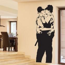 สติกเกอร์ติดผนัง Banksy Kissing Coppers Police Wall Sticker (WD-0981)