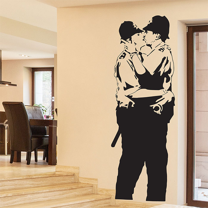 Banksy Kissing Policemen Vinyl Wall Art Decal