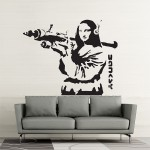 Banksy Mona Lisa with Bazooka Vinyl Wall Art Decal