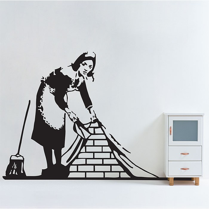 banksy maid in london wandaufkleber wandtattoo. Black Bedroom Furniture Sets. Home Design Ideas